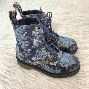 Dr. Marten Beckett blue floral combat boot lace up
